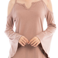 Dusty Pink Bell Sleeve Top
