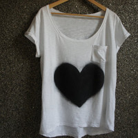 Hand Painted  T Shirt Black&White Love  / Loose Blouse / Casual