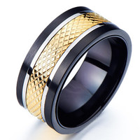 Wide Band Ring/Men's Wedding Band Ring Man/Men's Promise Ring/Mens Rings for Him/Mens Spinner Ring /Mens Ring Steel/Black Mens Ring