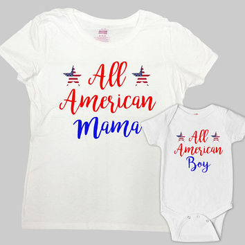 Mom And Son Matching Outfits 4th Of July Matching Family Shirts Mommy And Me Shirts Mother And Son Gift Fourth Of July Outfits - SA1115-1117
