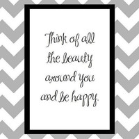 Be Happy Quote Art Print by prettypetalspaper on Etsy