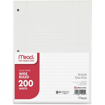 Mead 3-Hole Punched Wide-ruled Filler Paper, 1 / Pack