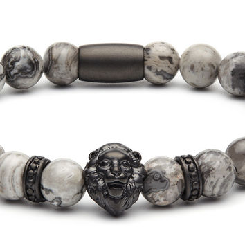 BLACK MATTE LION - GREY JASPER
