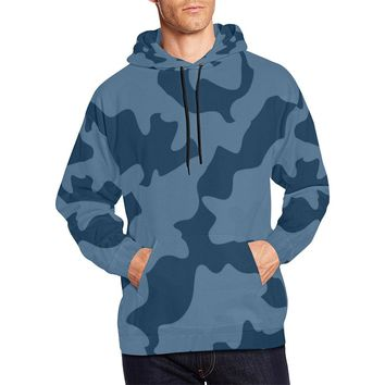 Navy Blue Camouflage Camo Pullover Hoodie For Men