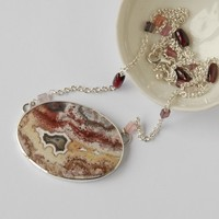 lace agate, garnet and spinel silver necklace
