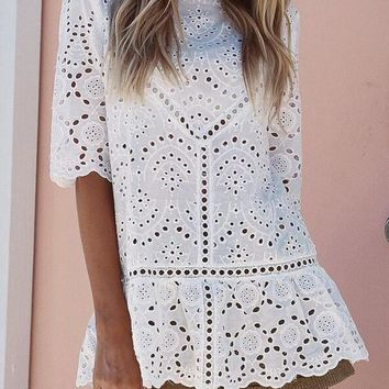 White Lace Elbow Sleeve Peplum Fashion Loose Cute T-Shirt