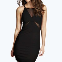 Jennie Mesh Insert Bodycon Dress