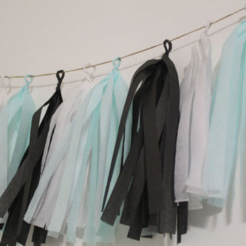 Breakfast at Tiffany's Tissue Paper Tassel Garland Banner Blue White Black Silver Birthday - Baby or Bridal Shower - Wedding  CUSTOMIZABLE