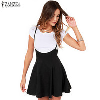 Fashion ZANZEA Brand Women Skirts 2017 Sexy Black Skater Skirt With Shoulder Straps Pleated Hem Saia Braces Skirt Plus Size