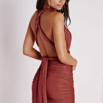 DO ME ANY WAY MULTIWAY SLINKY BODYCON DRESS RUST
