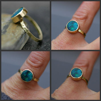 $2,400.00 Black Opal in Recycled 18k Yellow Gold Ring Made to by Specimental