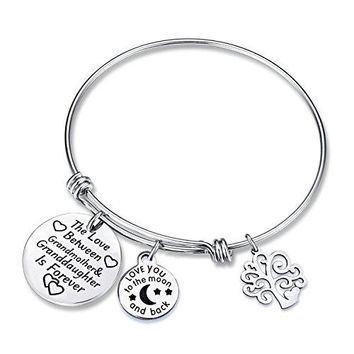 AUGUAU The Love Between Grandmother and Granddaughter Love Heart Charm Bangle Bracelet Gift for Grandmother