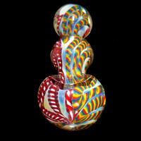 Rainbows & Peppermints Triple Bubble Smoking Pipe - Multicolor Latticino Canes Color Changing Glass Bowl
