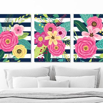 Flower Bouquet Wall Art, Girl Flower Bedroom Wall Decor CANVAS or Prints, Navy Stripe Colorful Flower Wall Art, Set of 3 Flower Artwork