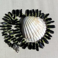"Gemstone Statement Necklace - Black Onyx & Olive Green Bamboo Coral  ""Tuscany"""