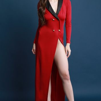 Double Breasted Satin Collar Hip Slit Maxi Dress