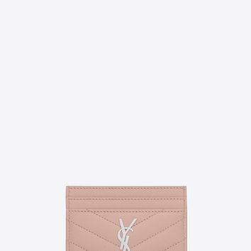 credit card case in pale blush textured matelassé leather