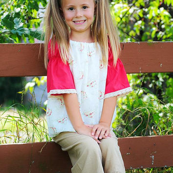 Peasant Top in Roses and Tan Ruffle Cord Pants set /Boutique Clothing/Girls Sets/MJ style/Childrens Clothing