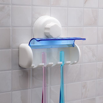 2016 New Plastic Dust-proof Toothbrush Holder Bathroom Kitchen Family Toothbrush Suction Cups Holder Wall Stand Hook 5 Racks