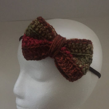 Autumn Springs Bow Headband / Crochet Bow / Nylon Headband / Fall Headband / Child Headband