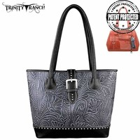 Montana West TR24G-L8317 Trinity Ranch Tooled Concealed Carry Handbag