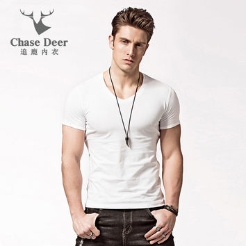 Men Causal T Shirt  100% Cotton Breathable Solid Quality Tshirt Brand Casual Brand Clothing Slim Fit Underwear T-Shirt Men
