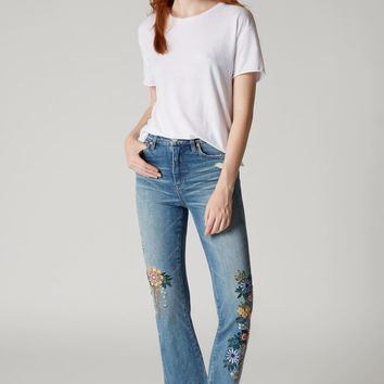 The Varick Embroidered High Rise Flare