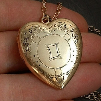 "BATES & B Art Deco Antique LOCKET Gold Insert Frames Heart Large SIGNED 24"" Long Chain"