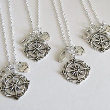 4 Best Friends Compass Initial Necklaces, 4 BFF Necklaces, 4 Best Friends Necklaces, 4 Bsst Friend Jewelry