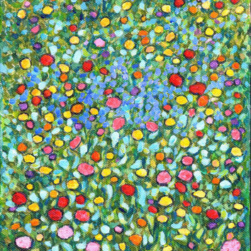 "daisy art print  ""Wildflowers Scattered In My Jewel Box"" hanging wall art decor abstract painting flower lover (130)"