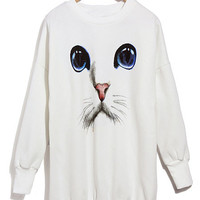 'The Jadazia' Blue Eyed Cat Printed Sweatshirt