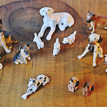 Miniature Bone China / Porcelain Dog Figurines, 13 Miniature Dogs, Dogs With Puppies