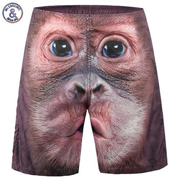 Mr.1991INC New Fashion Men's Beach Shorts Print Monkey Face 3d Shorts Casual Short Pants