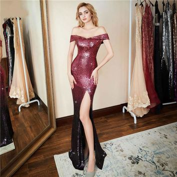 Formal Side Slit Evening Dress Sexy Luxury Red Long Sequin robe longue gown bride