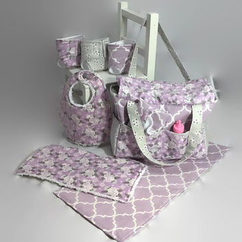 Doll Diaper Bag with Accessories, burp cloth, diapers, bib, wipes case, baby dolls, pretend play, changing pad