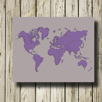 WORLD MAP Printable Instant Download Gray and Lavender Print Poster Home Decor Wall Art W022