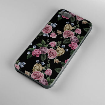 DS276-iPhone Case - Iphone 5 case-Iphone 5s case - Iphone 4 case - Iphone 4s case - Iphone Cover -Black Roses Flowers iPhone Case Vintage