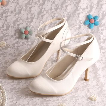 Hot Selling Ankle Strap White Bride Wedding Party Shoes Thin Heel 8CM Heel
