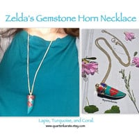 Zelda's Gemstone Horn Chain.  Coral, Lapis, Turquoise.  Gold chain.  Bohemian, French, Festival, free people, Coachella, hippie Style.