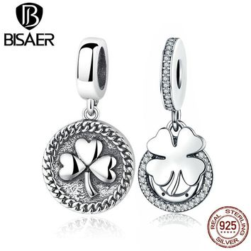 925 Sterling Silver Best Friends Forever Friendship Heart Clover Charms Fit BISAER Women Bracelets Silver 925 Jewelry making