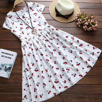 Sweet Cherry Print Peter Pan Collar Pleated A-Line Midi Dress