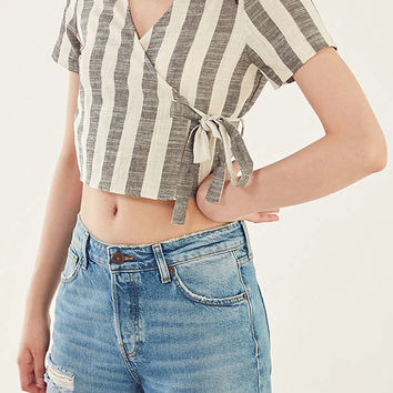 Ecote Striped Wrap Tie Tee | Urban Outfitters