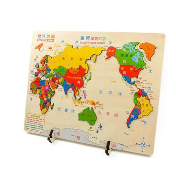 The Map of the World 3D Jigsaw Wooden Toys For Children Colorful Puzzle Educational And Learning Puzzles Toy Kids Gift