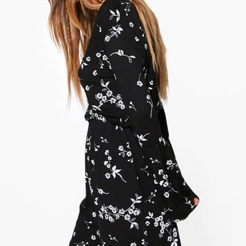 Petite Bethany Floral Wrap Skater Dress | Boohoo