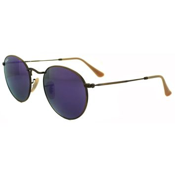 Ray-Ban Sunglasses Round Metal 3447 167/1M Bronze Copper Violet Mirror Medium