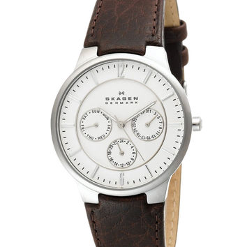 Skagen 331XLSL1 Men's Denmark Brown Leather Strap White Dial Quartz Watch