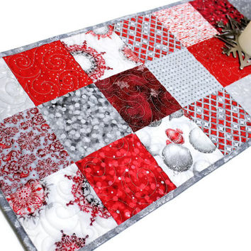 Red and Silver Quilted Christmas Table Runner,  Winters Grandeur Charms, Elegant Christmas Table Runner Quilt