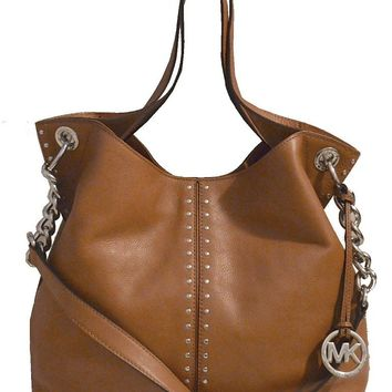 Michael Kors Luggage Leather Astor Large Chain Satchel Tote Bag Handbag