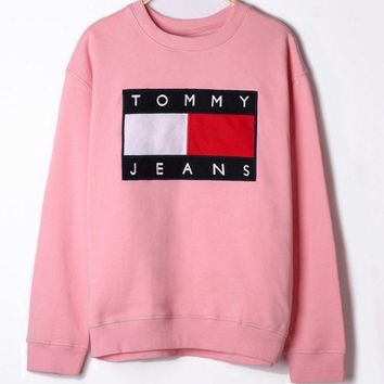 Tommy Hilfiger Fashion Women Men Loose Print Long Sleeve Sweater Pink I