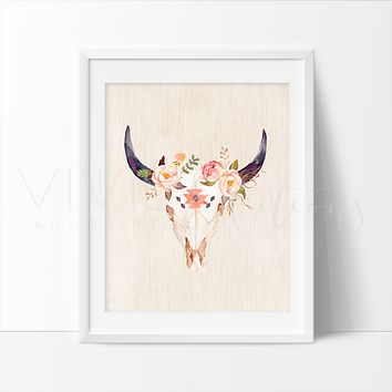 Floral Cow Skull